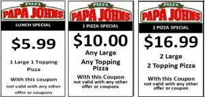 Papa Johns promo codes: Coupons like this CANNOT be combined with the promo codes found on this site. Use 1 method or the other for your discount.