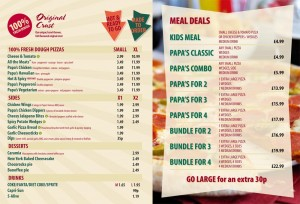 Papa Johns menu: This 2012 Papa John's pizza Menu is a good overall guide.