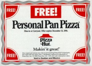 Pizza Hut printable coupons 2012 and 2013: Pizza Hut often offer coupons like this, but they are hard to find. You can try to do a google Image search for them, but I can almost guarantee you, that the printable coupons that come up have long expired