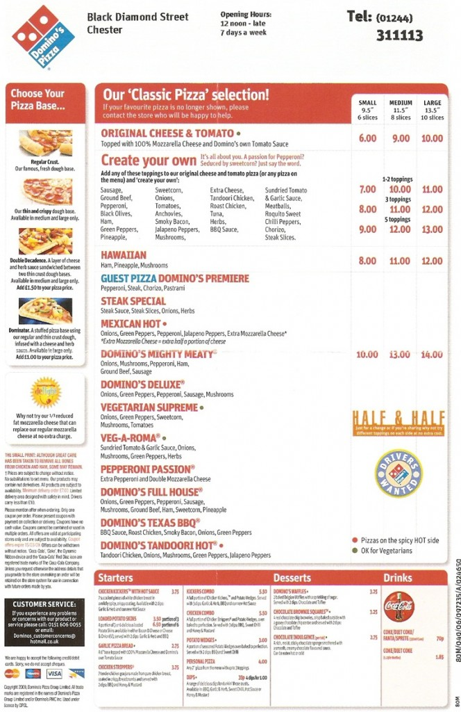 Dominos pizza menu: An Example of The traditionnal Dominos pizza menu from Dominos Pizza
