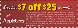 Applebees coupons: This is an example of a typical printable Applebees coupons, offering a great discount of 7$. NOTE: This coupon has already expired, but keep checking back for more promotional codes and offers.