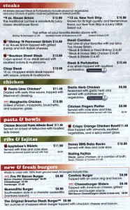 Applebees menu 2012: Part of the Applebees menu found at www.menuwall.com. For the full menu, see: Applebees.com