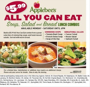 Applebees coupons and All-you-can-eat deals. Just 5.99$ on lunch combos of salads, soups and bread.