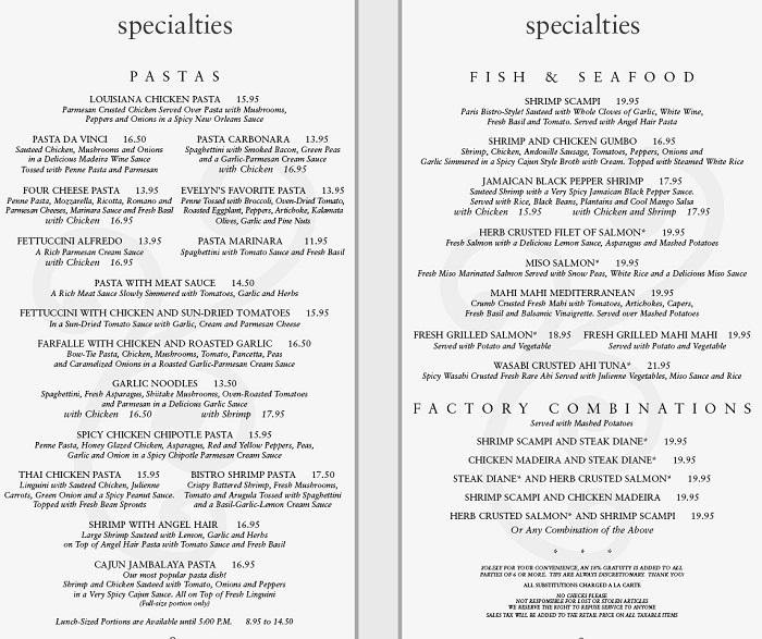 Cheesecake factory menu 2012: Example of the Cheesecake factory menu