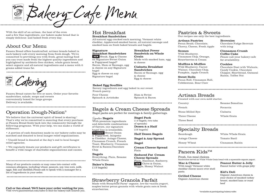 Panera Bread menu 2012. Example of a Panera Bread Bakery Cafe Menu.