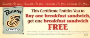 Panera Bread Coupons 2012: Example of a Buy-one-get-one-free sandwich coupon form Panera Bread Bakery.
