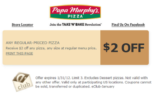 photograph about Papa Murphys Printable Coupons titled Papa Murphys printable coupon codes 2012/2013 - Up to date 2018