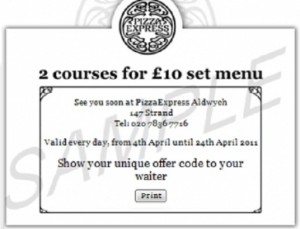 Pizza express vouchers 2012/2113: Example of a printable Pizza Express voucher. This voucher has expired, but please have a look around our site for more pizza vouchers and coupons.