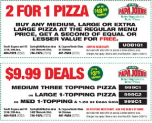 2 for 1 Papa Johns printable coupon