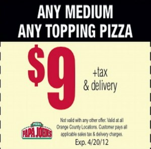 Papa Johns coupons - Printable Papa Johns coupon Image