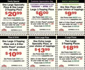 Papa Johns coupons printable 2012-2013 and PapaJohns coupon codes