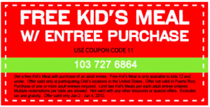 Chilis coupons 2012: Example of a printable chilis coupon that expires January 4th 2012 for a free Kids meal.