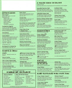 chilis menu example. Note, this is an older menu and prices and menu items may have changed.