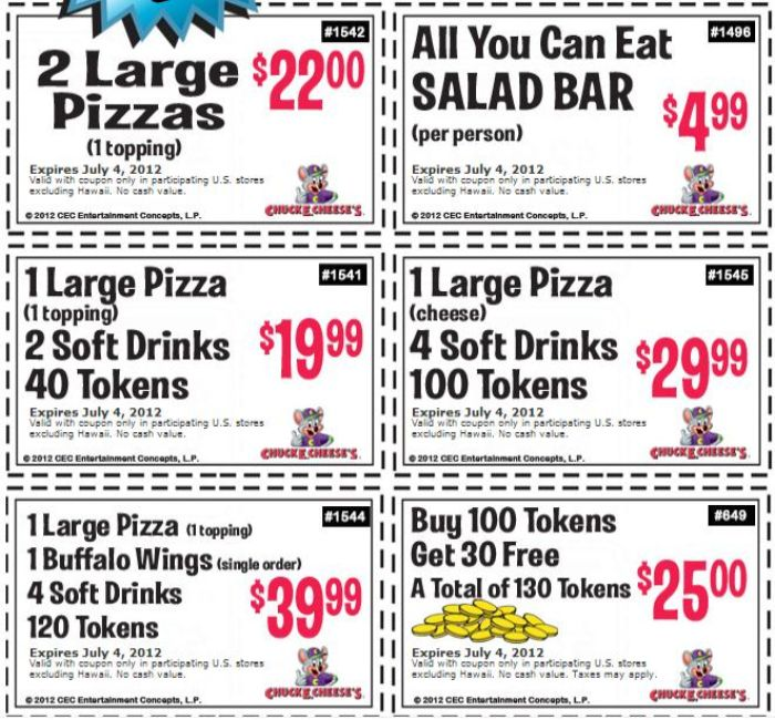 Chuck e Cheese coupons 2012 June -Chuck e cheese coupon printable