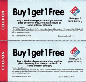 Dominos coupons printable 2012:   Like with a lot of pizza coupons, these are hit or miss.  Many have expired and some like this one, is applicable only in Asia. Lots of time the printable Dominos coupons that you find online are regional. If the coupons work for you - great, if not - keep looking!