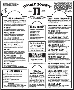 Jimmy Johns Menu