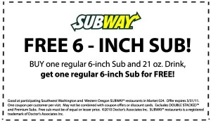 Subway Coupons 2012-2013