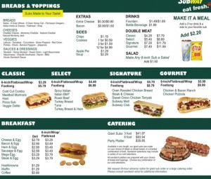 subway menu with prices